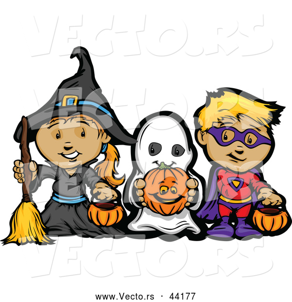 Vector of a Cartoon Witch, Ghost, and Super Hero