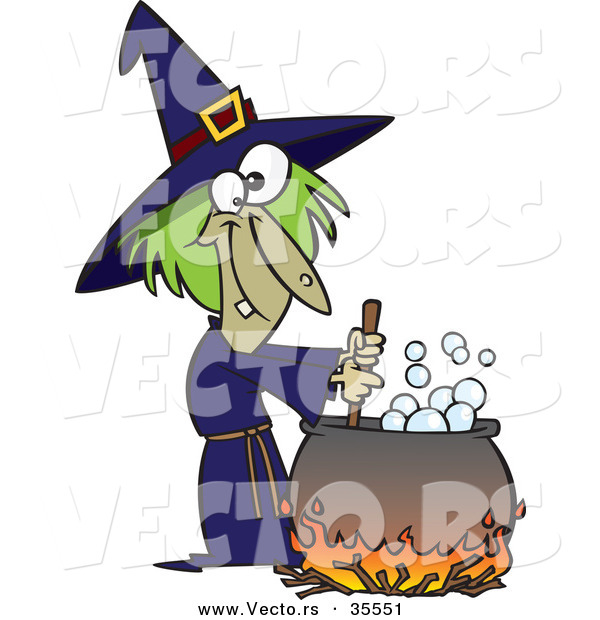 Vector of a Cartoon Witch Mixing Potion in Cauldron over a Fire on Halloween
