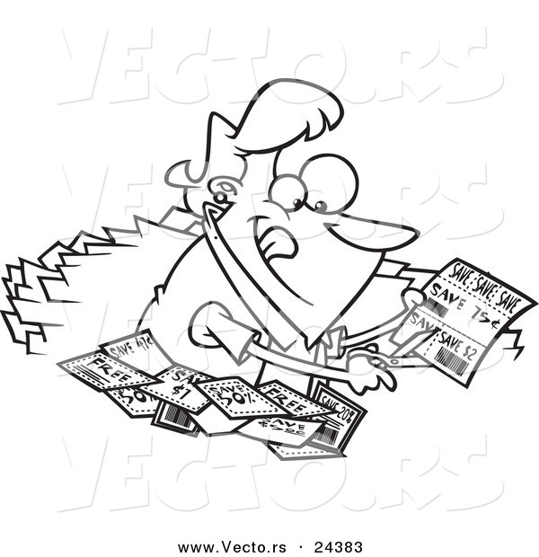 Vector of a Cartoon Woman Clipping Coupons - Outlined Coloring Page