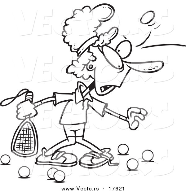 vector of a cartoon woman getting bruised during racquetball coloring page outline by ron Racquetball Silhouette Racquetball Silhouette