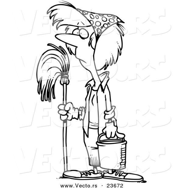 Vector of a Cartoon Woman Mopping While Spring Cleaning - Coloring Page Outline