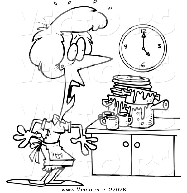 Clip Art Messy Kitchen: Vector Of A Cartoon Woman Panicking In A Messy Kitchen