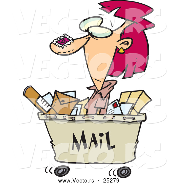 Vector of a Cartoon Woman Shipping out with Lots of Mail in a Cart