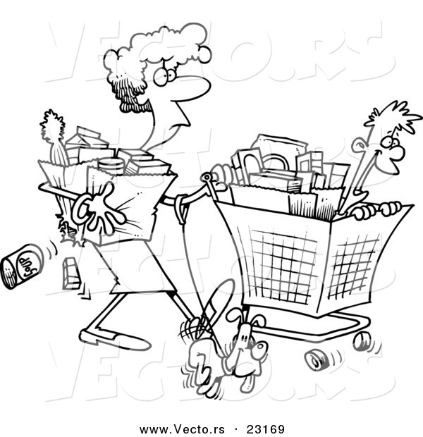 Vector of a Cartoon Woman Shopping with Her Son - Coloring Page Outline