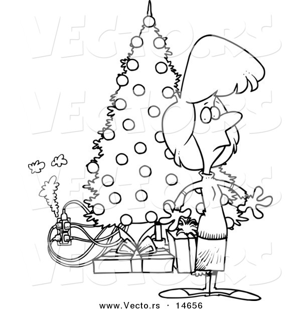 Coloring Page With The Electrician: Vector Of A Cartoon Woman Standing By A Christmas Tree