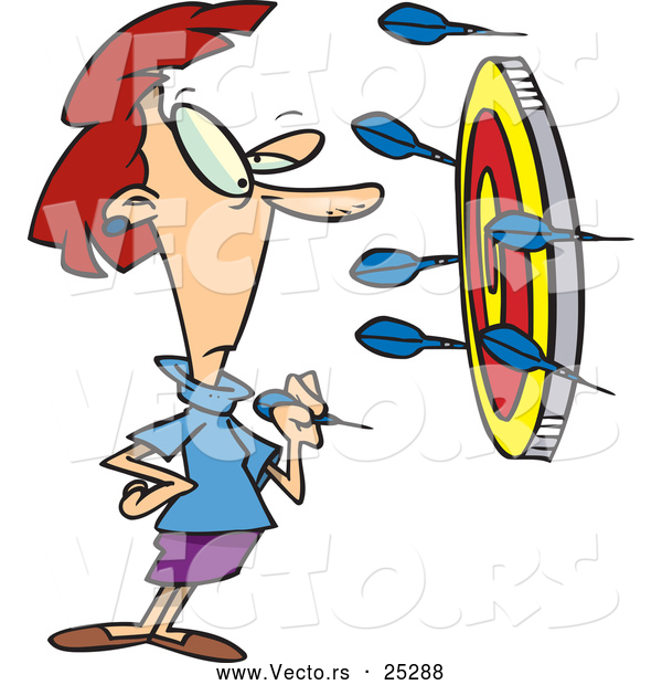 Vector of a Cartoon Woman Thinking About Putting a Dart in the Bullseye of a Target Surrounded with Darts on the Wall