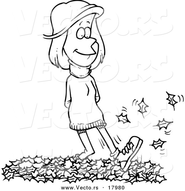 Vector of a Cartoon Woman Walking in Leaves - Outlined Coloring Page