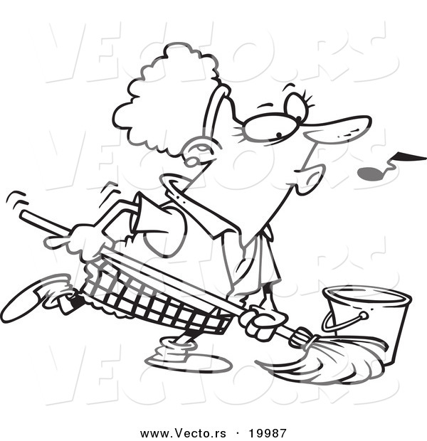 Vector of a Cartoon Woman Whistling While Mopping - Outlined Coloring Page