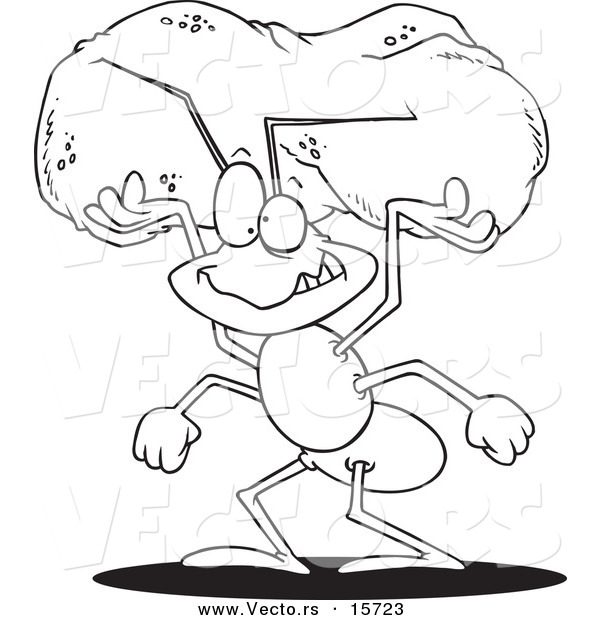 Vector of a Cartoon Worker Ant Carrying a Crumb - Coloring Page Outline