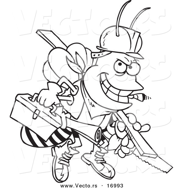 Vector of a Cartoon Worker Bee Carrying Tools - Coloring Page Outline
