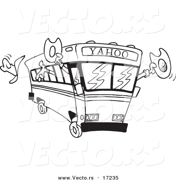 Vector of a Cartoon Yahoo Bus Loaded with Cowboys - Coloring Page Outline