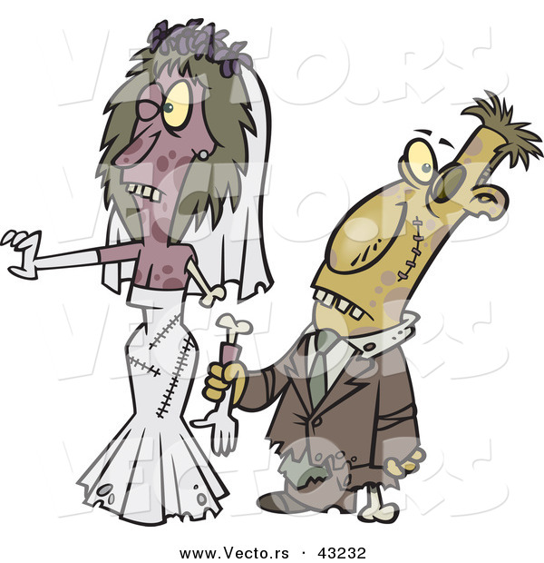 Vector of a Cartoon Zombie Bride and Groom