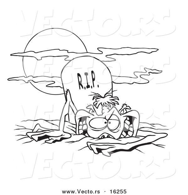 Vector of a Cartoon Zombie Rising from the Grave - Outlined Coloring Page Drawing