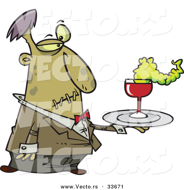 Vector of a Cartoon Zombie Waiter Serving Drinks at Halloween Party