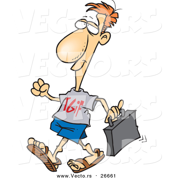 Vector of a Casual Work Day Business-Man Wearing TGIF Shirt - Cartoon Version