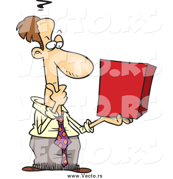 Vector of a Caucasian Businessman Holding a Red Box and Thinking