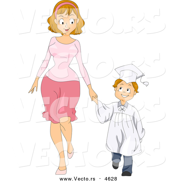 Vector of a Caucasian Graduate Boy Holding Hands with His Mom