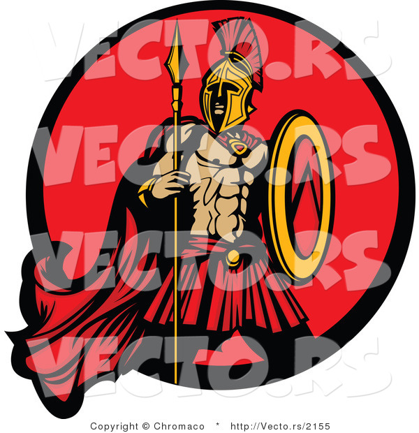 Vector of a Challenging Spartan Armed with a Spear and Shield Within a Circle Icon