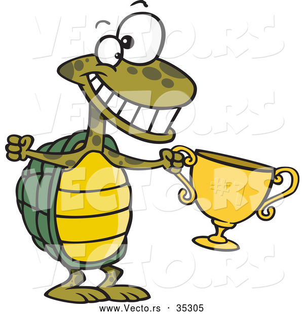 Vector of a Champion Cartoon Turtle Holding a Gold Trophy While Smiling Big