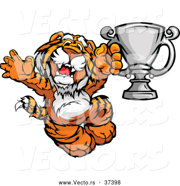 Vector of a Cheerful Cartoon Tiger Champion Mascot with a Trophy