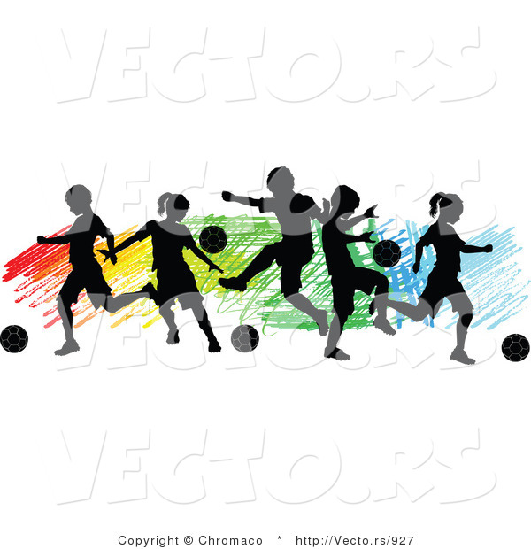 Vector of a Children Playing Soccer over Colorful Background - Silhouette