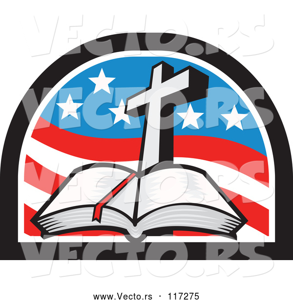 Vector of a Christian Cross and Open Bible in an American Flag Arch