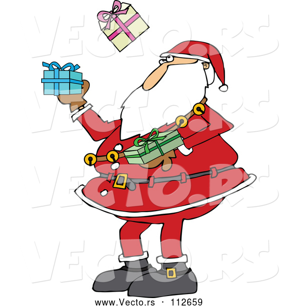 Vector of a Christmas Cartoon Santa Claus Juggling Wrapped Gifts