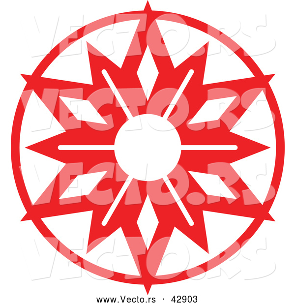 Vector of a Christmas Snowflake in Red Circle