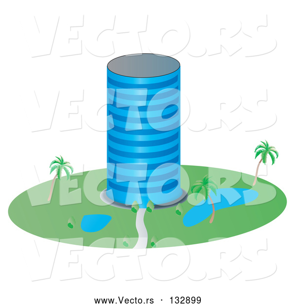 Vector of a Circular Building with Ponds and Palm Trees in the Landscape