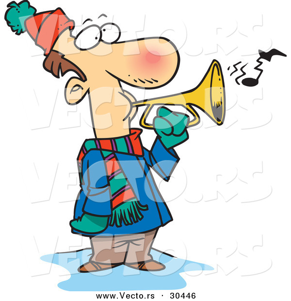 Vector of a Cold Cartoon Man Playing a Horn Outside in Winter Weather