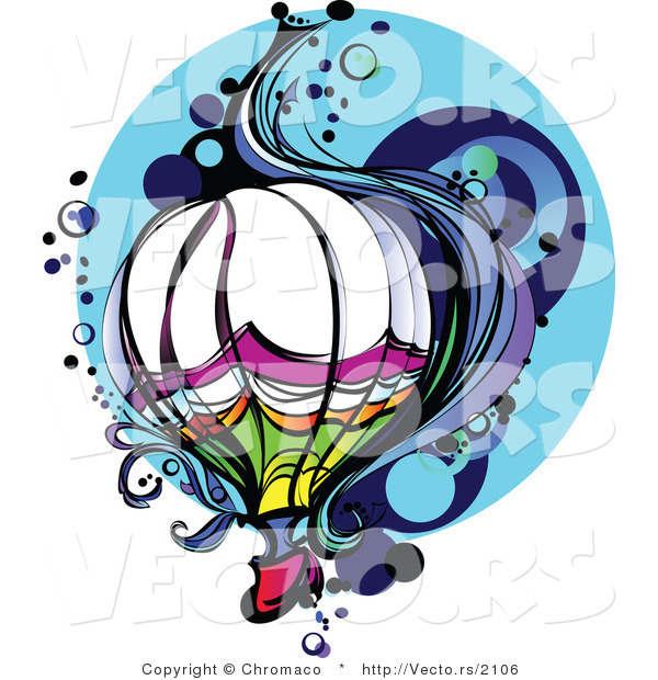 Vector of a Colorful Hot Air Balloon in Flight with Wind and Bubbles over Blue Background