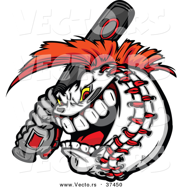 Vector of a Competitive Aggressive Batting Baseball Mascot with a Mohawk