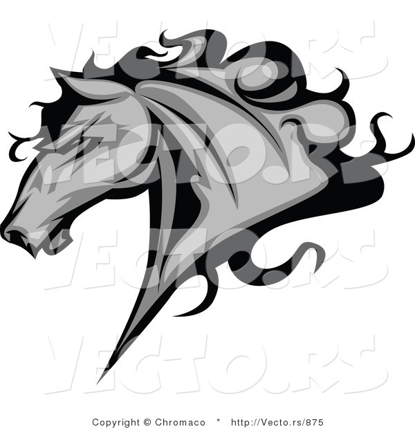: Vector of a Competitive Alpha Horse Running - Grayscale Version