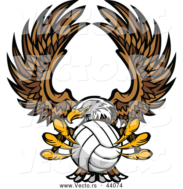 Vector of a Competitive Bald Eagle Mascot Flying with a Volleyball in Its Talons