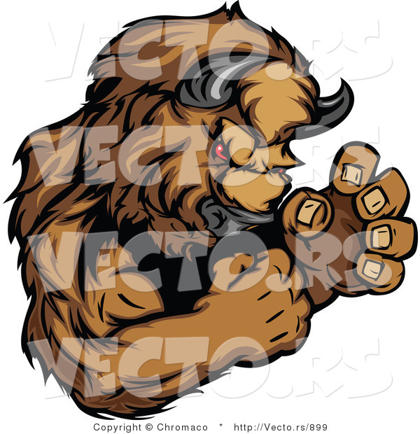 Vector of a Competitive Buffalo Mascot in Fighting Stance