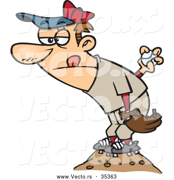 : Vector of a Competitive Cartoon Baseball Pitcher on the Mound Getting Reading to Throw the Ball