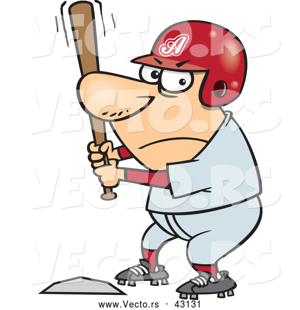 Vector of a Competitive Cartoon Baseball Player Batting at Home Base