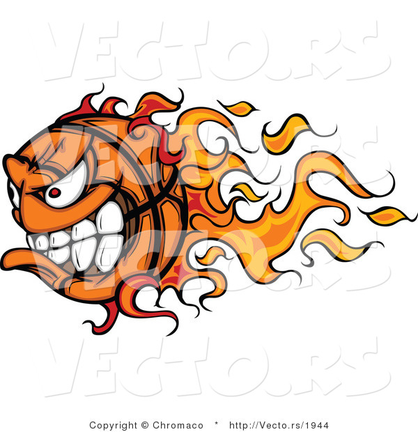 Vector of a Competitive Cartoon Basketball Mascot with Trailing Flames