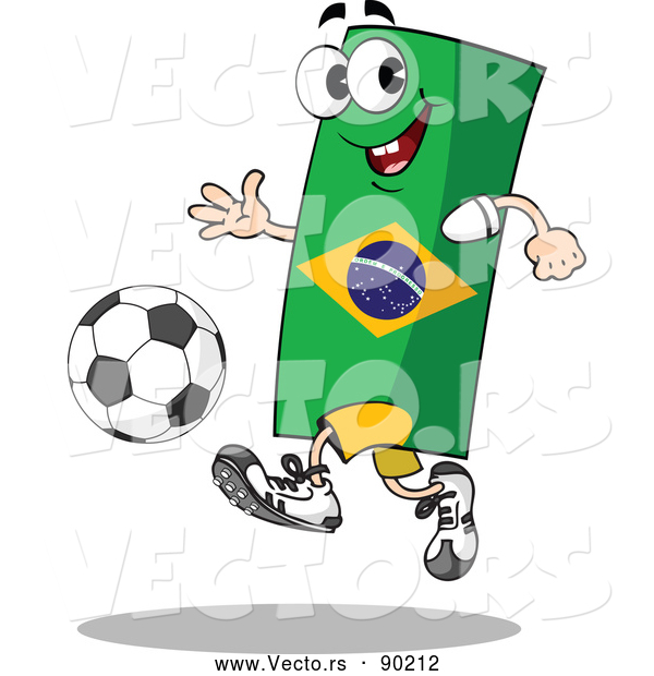 : Vector of a Competitive Cartoon Brazil Flag Mascot Playing Soccer