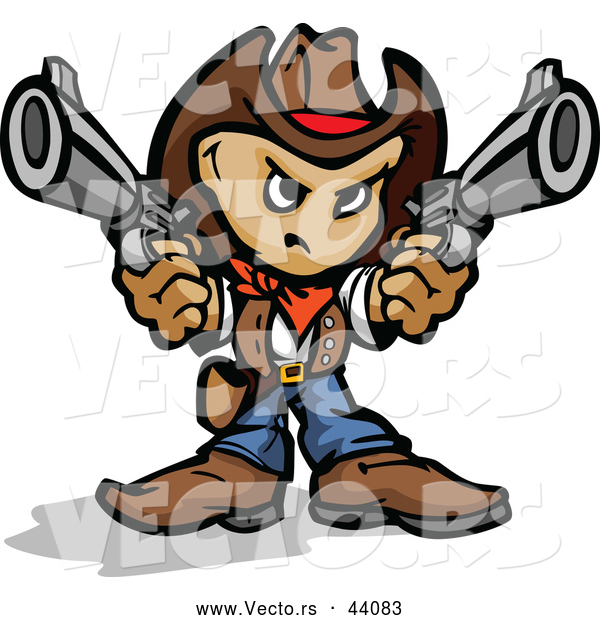 Vector of a Competitive Cartoon Cowboy Pointing Two Handguns