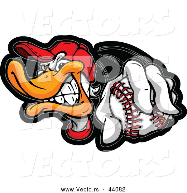 Vector of a Competitive Cartoon Duck Holding out a Baseball While Grinning