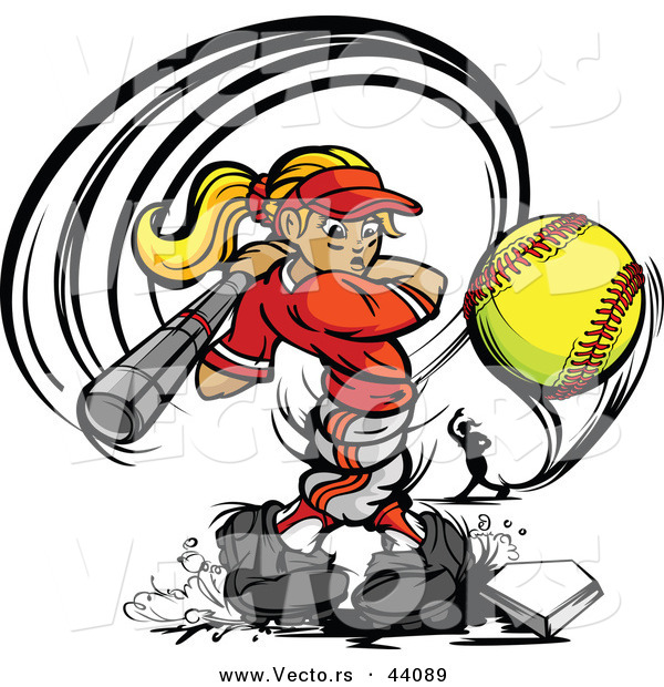 Vector of a Competitive Cartoon Female Baseball Player Swinging Bat and Hitting a Softball