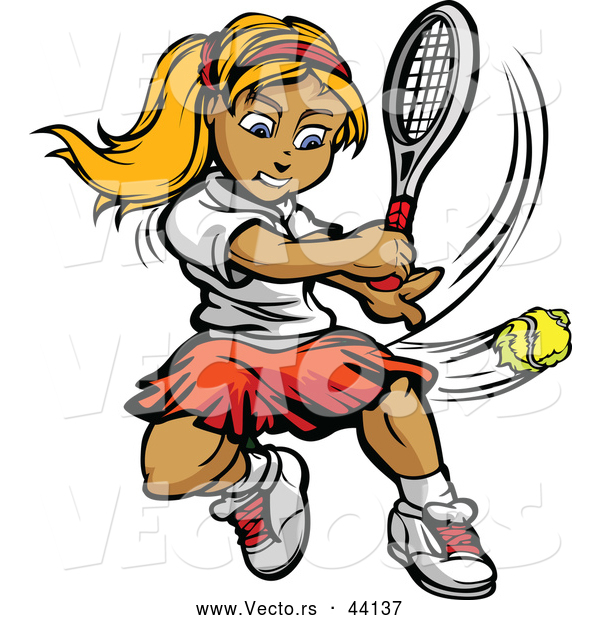 Vector of a Competitive Cartoon Female Tennis Player Hitting a Ball