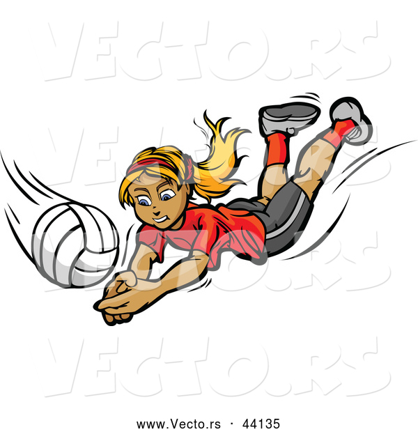 Vector of a Competitive Cartoon Female Volleyball Player Diving Towards a Volleyball