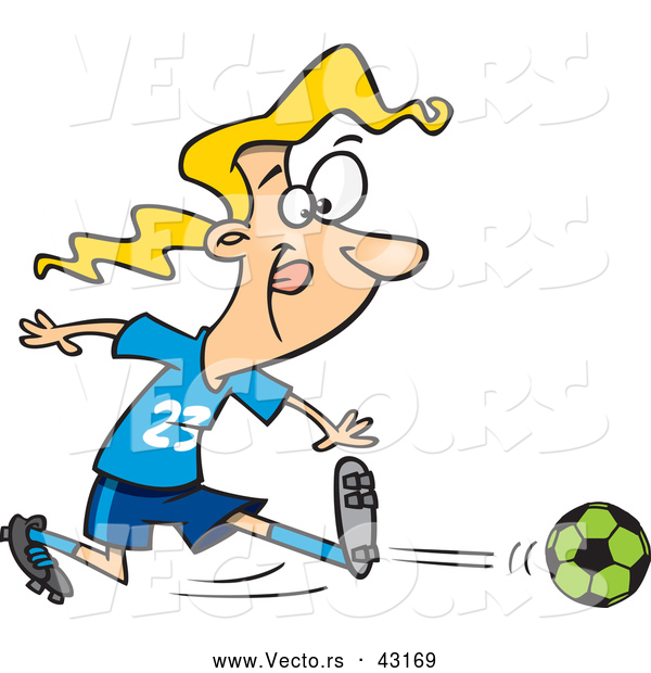 Vector of a Competitive Cartoon Girl Kicking a Soccer Ball