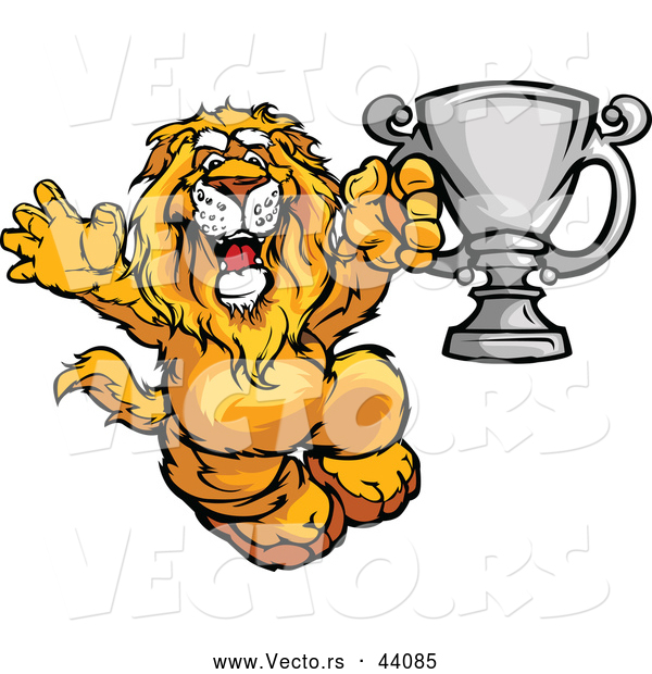 Vector of a Competitive Cartoon Lion Celebrating with a Silver Trophy
