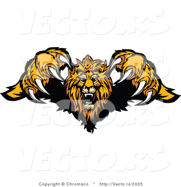 Vector of a Competitive Cartoon Lion Mascot Leaping Forward with Sharp Claws During an Attack