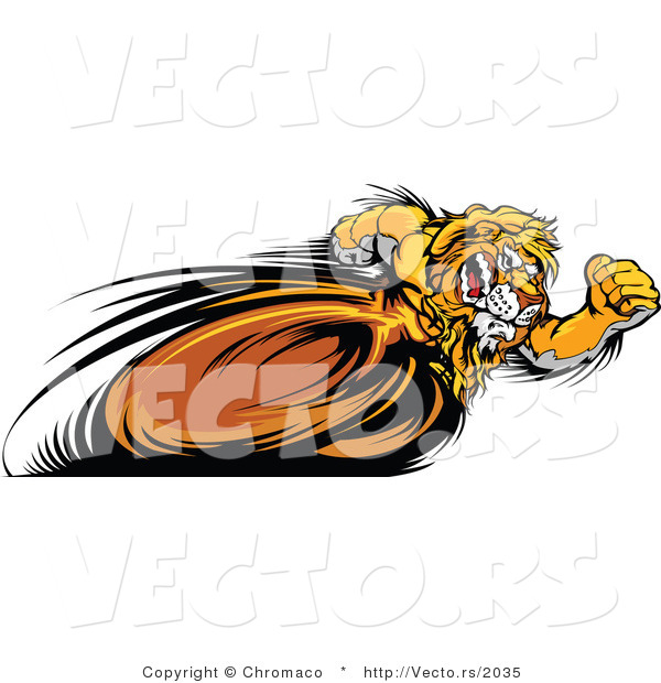 Vector of a Competitive Cartoon Lion Mascot Running Fast in a Race