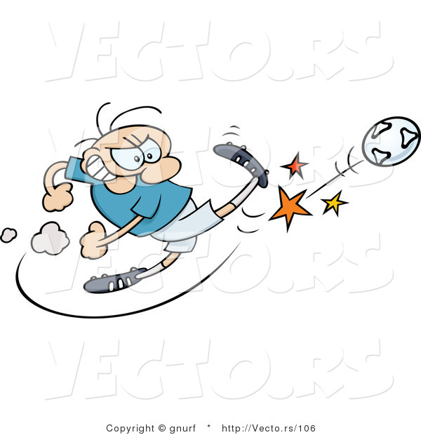 Vector of a Competitive Cartoon Man Kicking Soccer Ball As Hard As He Can