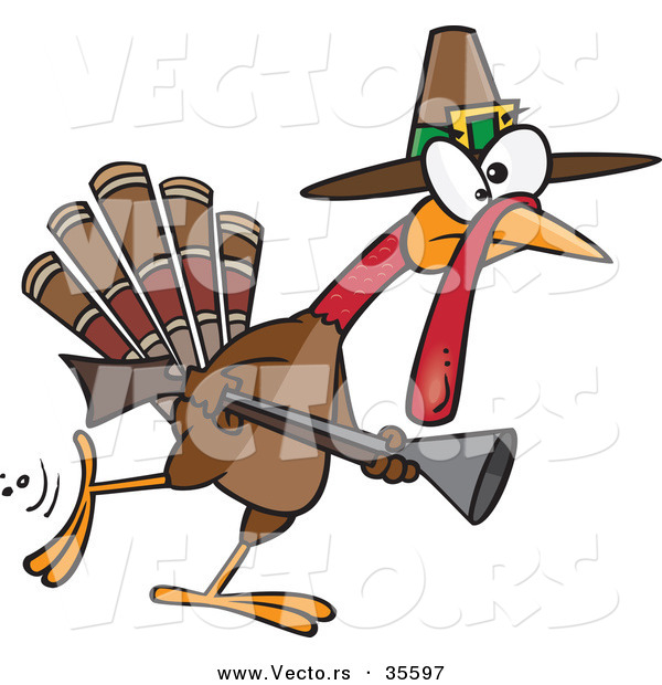 Vector of a Competitive Cartoon Pilgrim Turkey Hunting with a Rifle